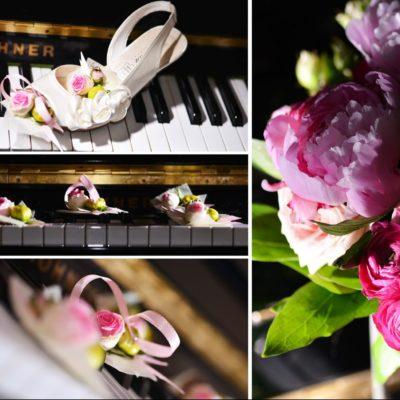 photo mariage original détail bouquet de la mariée chaussures piano fleurs